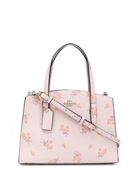 Bolsa tote de cuero con print de flores rosada de Coach