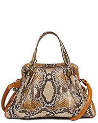 Bolsa tote de cuero con print de serpiente marrón claro