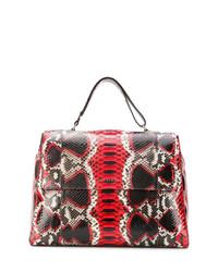 Bolsa tote de cuero con print de serpiente roja de Orciani