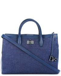 Bolsa tote de cuero con relieve azul de Diane von Furstenberg
