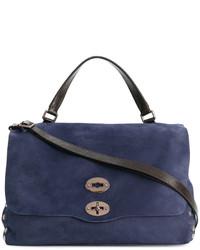 Bolsa tote de cuero con tachuelas azul marino de Zanellato