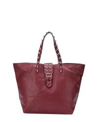 Bolsa tote de cuero con tachuelas burdeos de RED Valentino