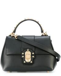 Bolsa Tote de Cuero con Tachuelas Negra de Dolce & Gabbana