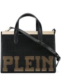 Bolsa Tote de Cuero con Tachuelas Negra de Philipp Plein