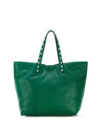 Bolsa tote de cuero con tachuelas verde de RED Valentino