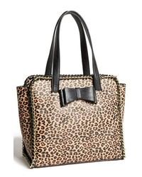 Bolsa tote de cuero de leopardo en negro y marrón claro