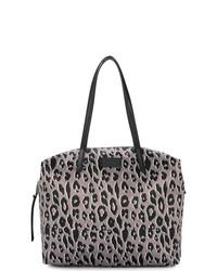Bolsa tote de cuero de leopardo gris de Rebecca Minkoff