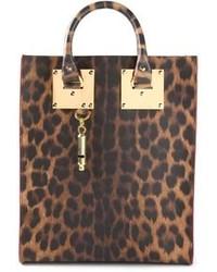Bolsa tote de cuero de leopardo marrón