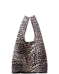 Bolsa tote de cuero de leopardo marrón de Ganni
