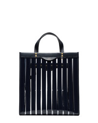 Bolsa tote de cuero de rayas verticales azul marino de Anya Hindmarch