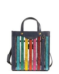 Bolsa tote de cuero de rayas verticales en multicolor
