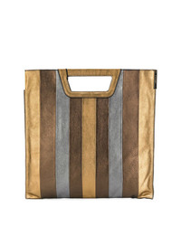 Bolsa tote de cuero de rayas verticales marrón de Twin-Set