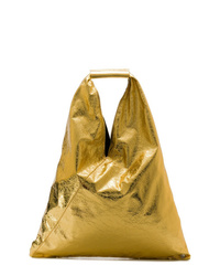 Bolsa tote de cuero dorada de MM6 MAISON MARGIELA
