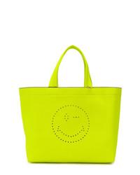 Bolsa tote de cuero en amarillo verdoso de Anya Hindmarch