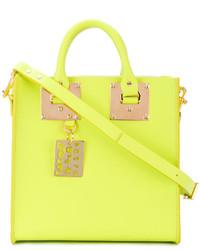 Bolsa tote de cuero en amarillo verdoso de Sophie Hulme