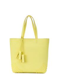 Bolsa tote de cuero en amarillo verdoso de Tod's
