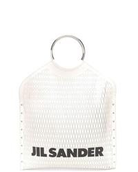 Bolsa tote de cuero en blanco y negro de Jil Sander