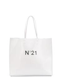 Bolsa tote de cuero en blanco y negro de N°21