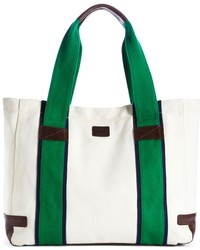 Bolsa tote de cuero en blanco y verde