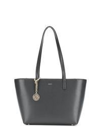 Bolsa tote de cuero en gris oscuro de DKNY