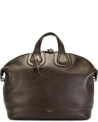 Bolsa tote de cuero en marrón oscuro de Givenchy