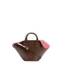 Bolsa tote de cuero en marrón oscuro de Trademark