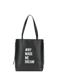Bolsa tote de cuero en negro y blanco de DKNY