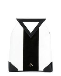 Bolsa tote de cuero en negro y blanco de Manu Atelier