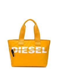 Bolsa tote de cuero estampada amarilla de Diesel