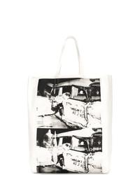 Bolsa Tote de Cuero Estampada Blanca de Calvin Klein 205W39nyc