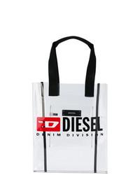 Bolsa tote de cuero estampada blanca de Diesel