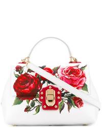 Bolsa Tote de Cuero Estampada Blanca de Dolce & Gabbana