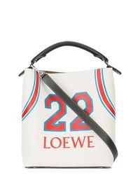 Bolsa tote de cuero estampada blanca de Loewe