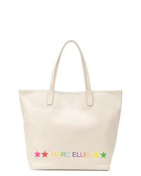 Bolsa Tote de Cuero Estampada Blanca de Marc Ellis