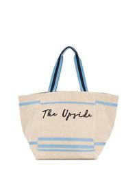 Bolsa tote de cuero estampada en beige de The Upside