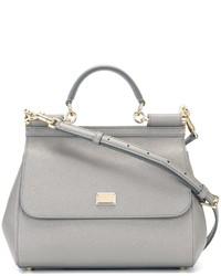 Bolsa tote de cuero gris de Dolce & Gabbana