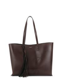 Bolsa Tote de Cuero Marrón Oscuro de Saint Laurent