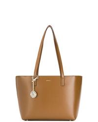 Bolsa tote de cuero marrón de DKNY