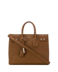 Bolsa tote de cuero marrón de Saint Laurent