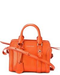 Bolsa tote de cuero naranja de Alexander McQueen