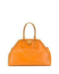 Bolsa tote de cuero naranja de Gucci