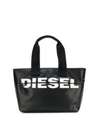 Bolsa Tote de Cuero Negra y Blanca de Diesel