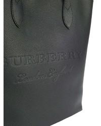 Bolsa tote de cuero negra de Burberry