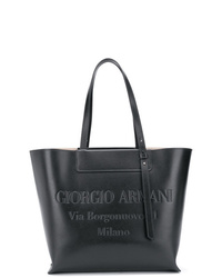 Bolsa tote de cuero negra de Giorgio Armani