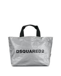 Bolsa tote de cuero plateada de Dsquared2