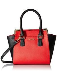 Bolsa Tote de Cuero Roja y Negra de Calvin Klein