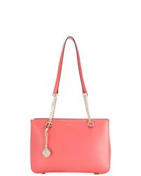 Bolsa tote de cuero roja de DKNY