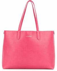 Bolsa tote de cuero rosa