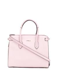 Bolsa tote de cuero rosada de Furla