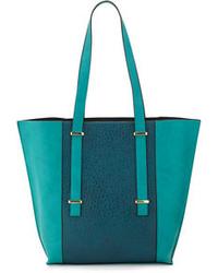 Bolsa Tote de Cuero Verde Azulado